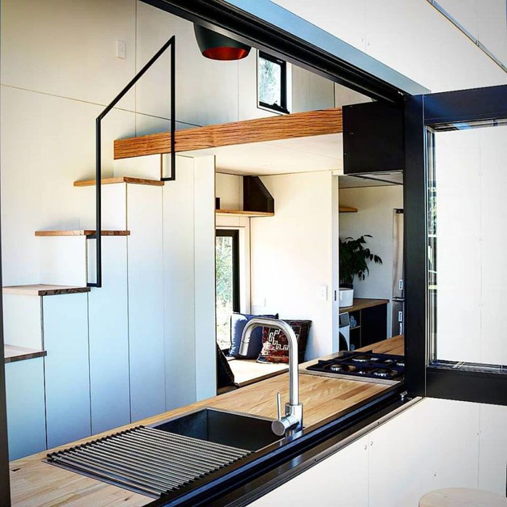View of staircase inside a tiny home
