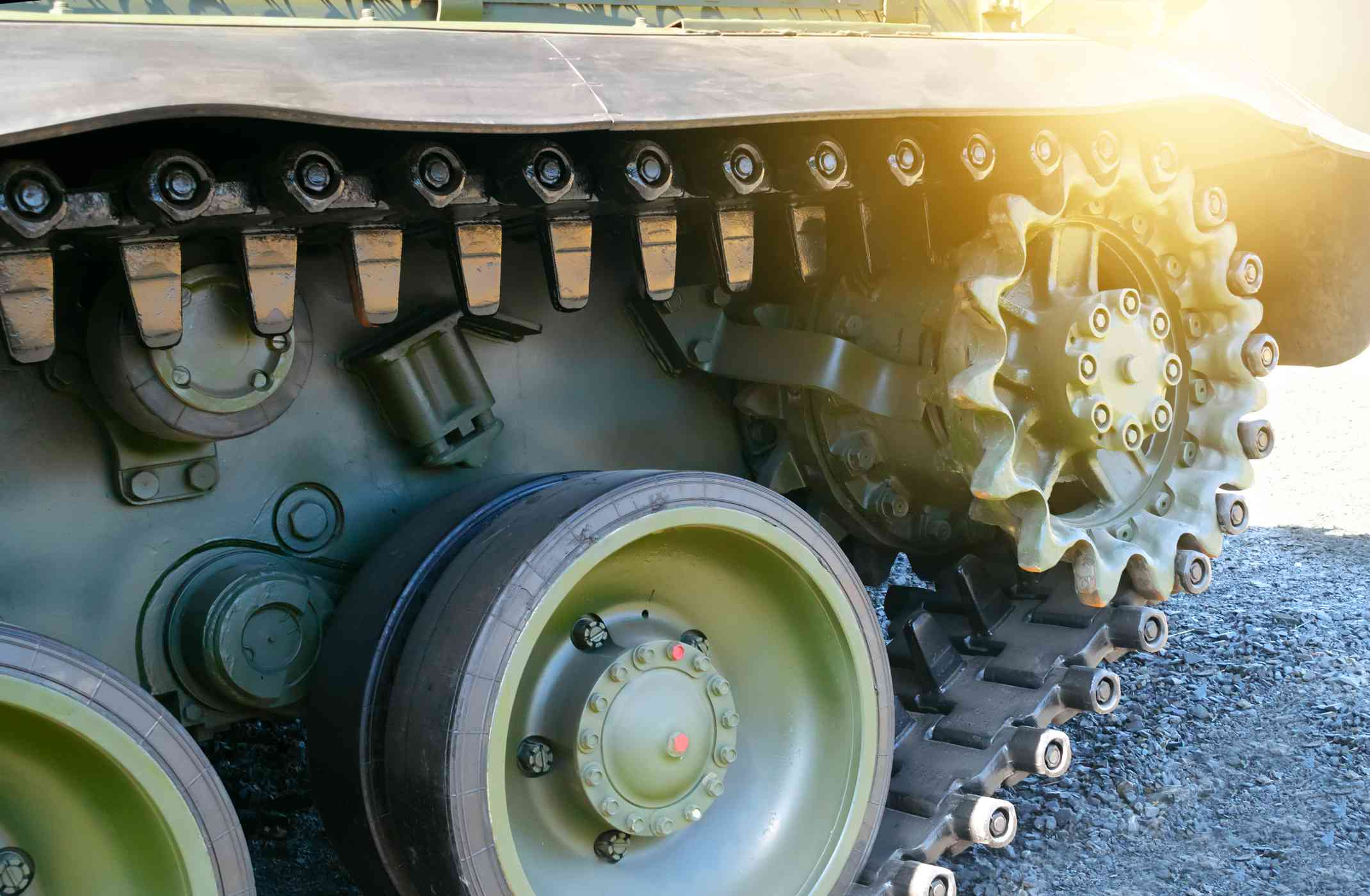 Tracks on a military vehicle.