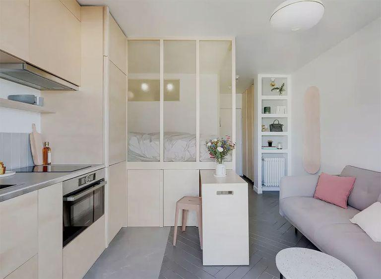 micro apartment rue falguiere renovation Studio Beau Faire interior
