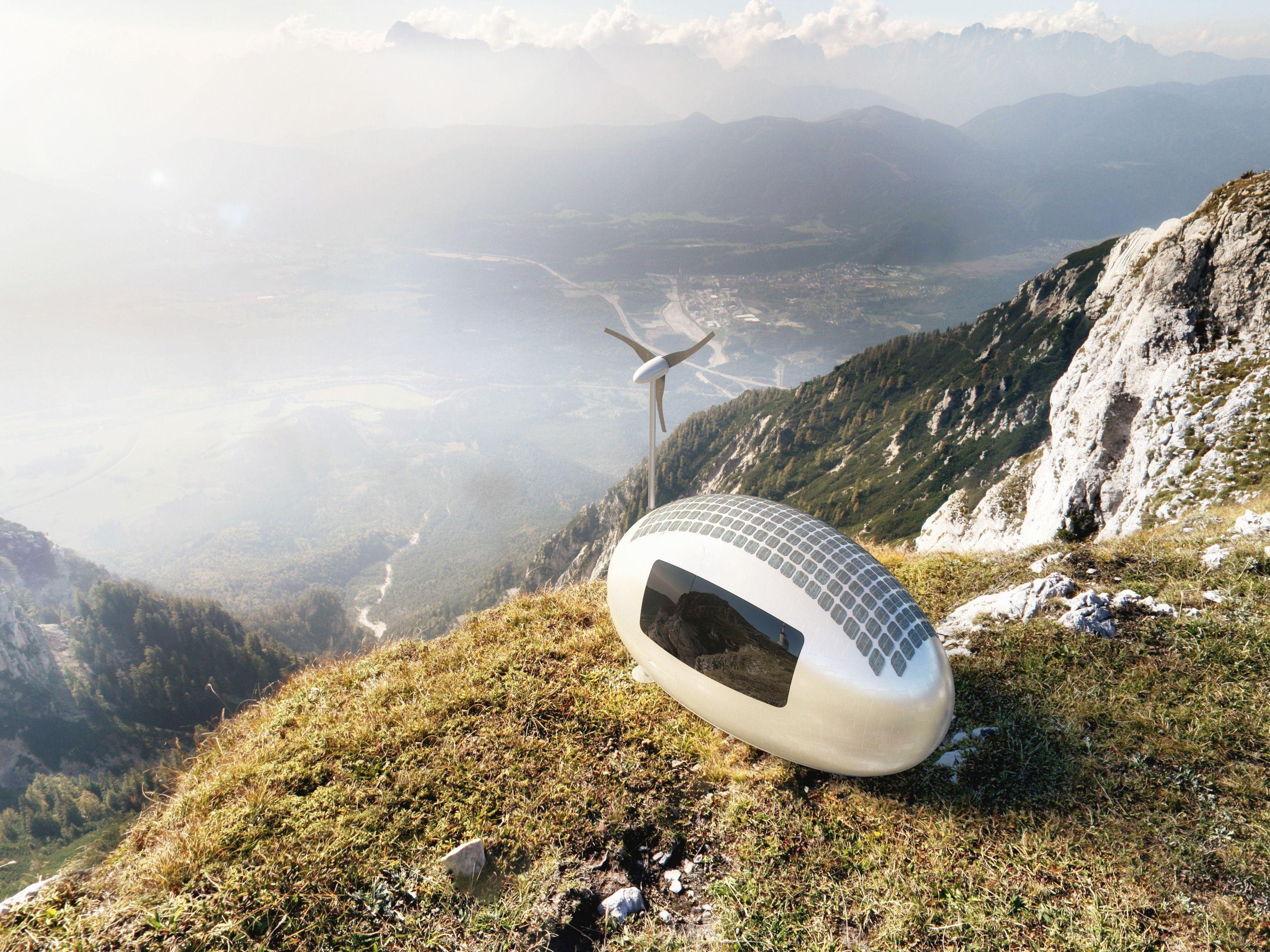 Ecocapsule on mountain top