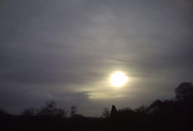 The sun is hazy through an altostratus translucidus