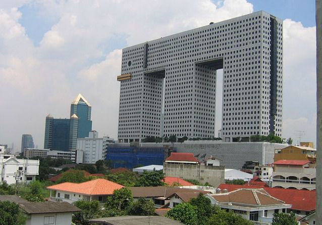 High-rise building with features that look like an elephant