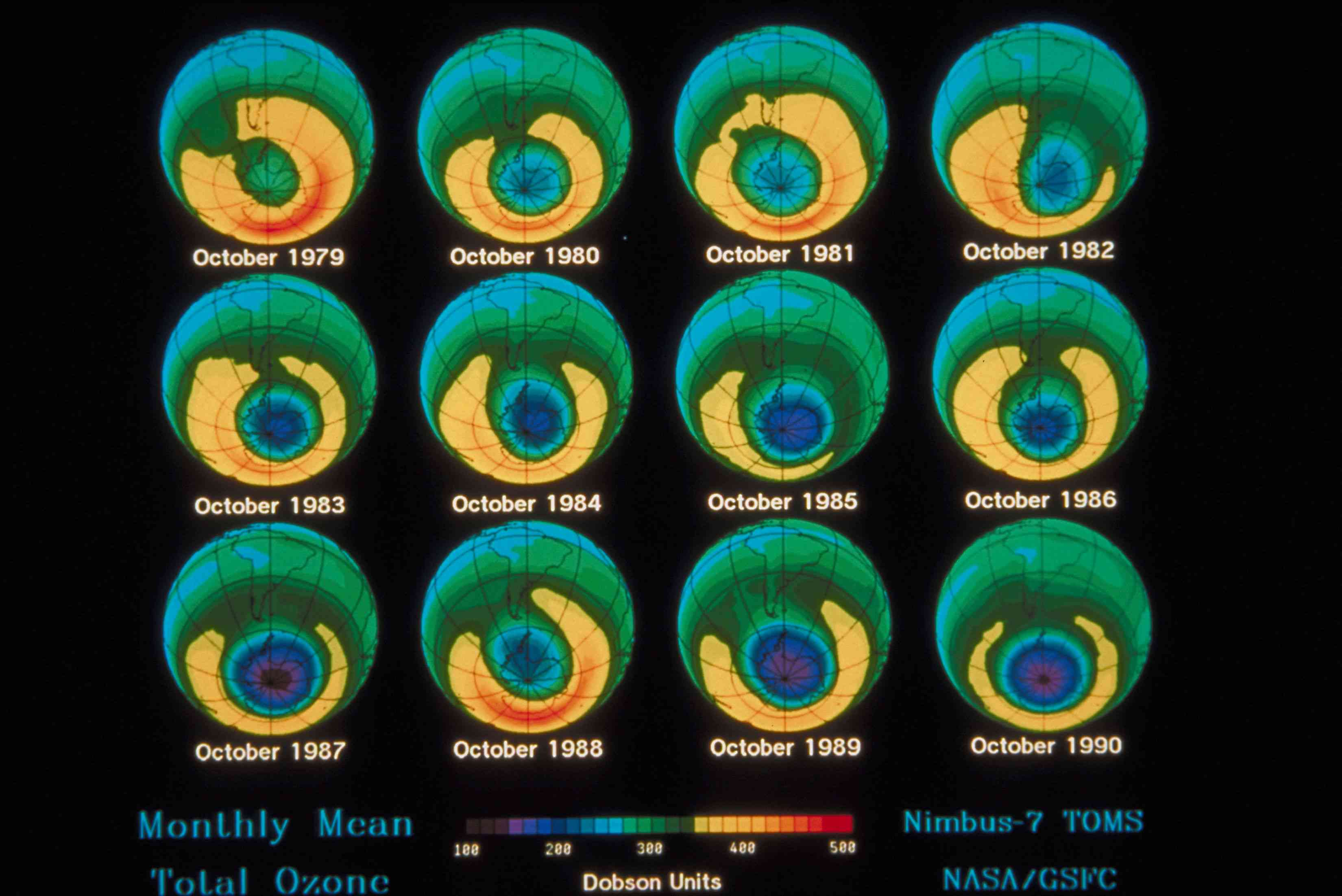 Yearly evolution of the whole in the ozone layer
