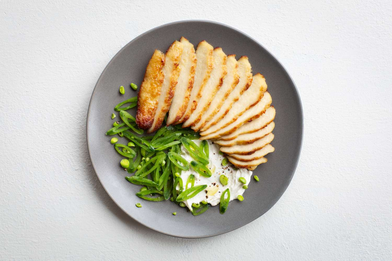 lab-grown chicken on a plate