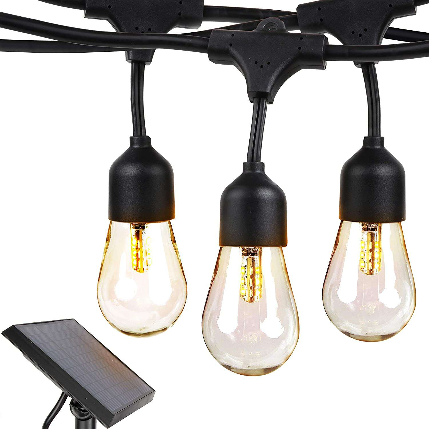 Brightech Ambience Pro Solar 27 Ft Edison Bulb Outdoor String Lights