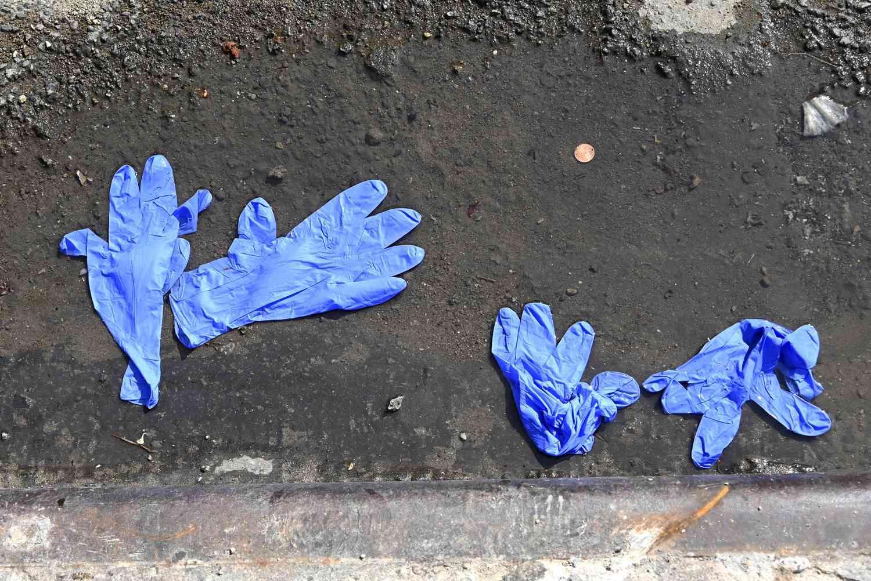 Plastic gloves on the street