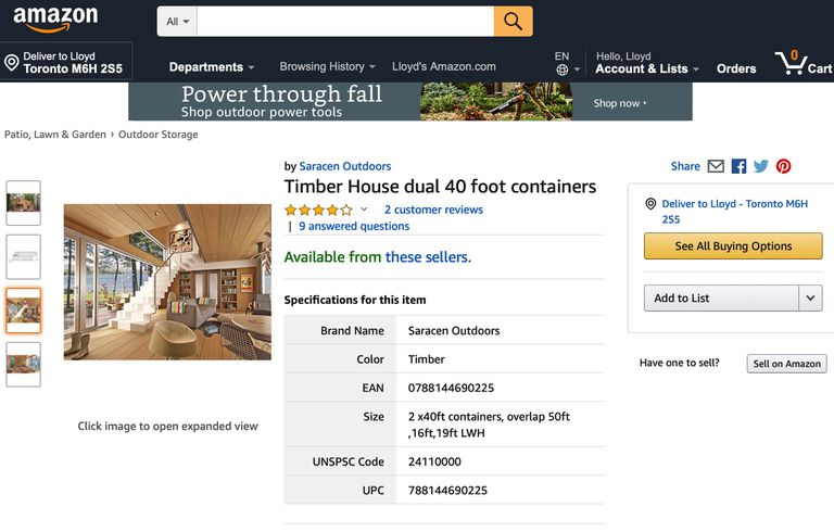 "Screenshot of an Amazon listing for ""Timber House dual 40 foot containers"""