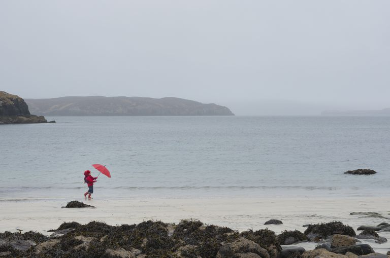 Person with umbrella at windy beach, Isle of Skye, Scotland