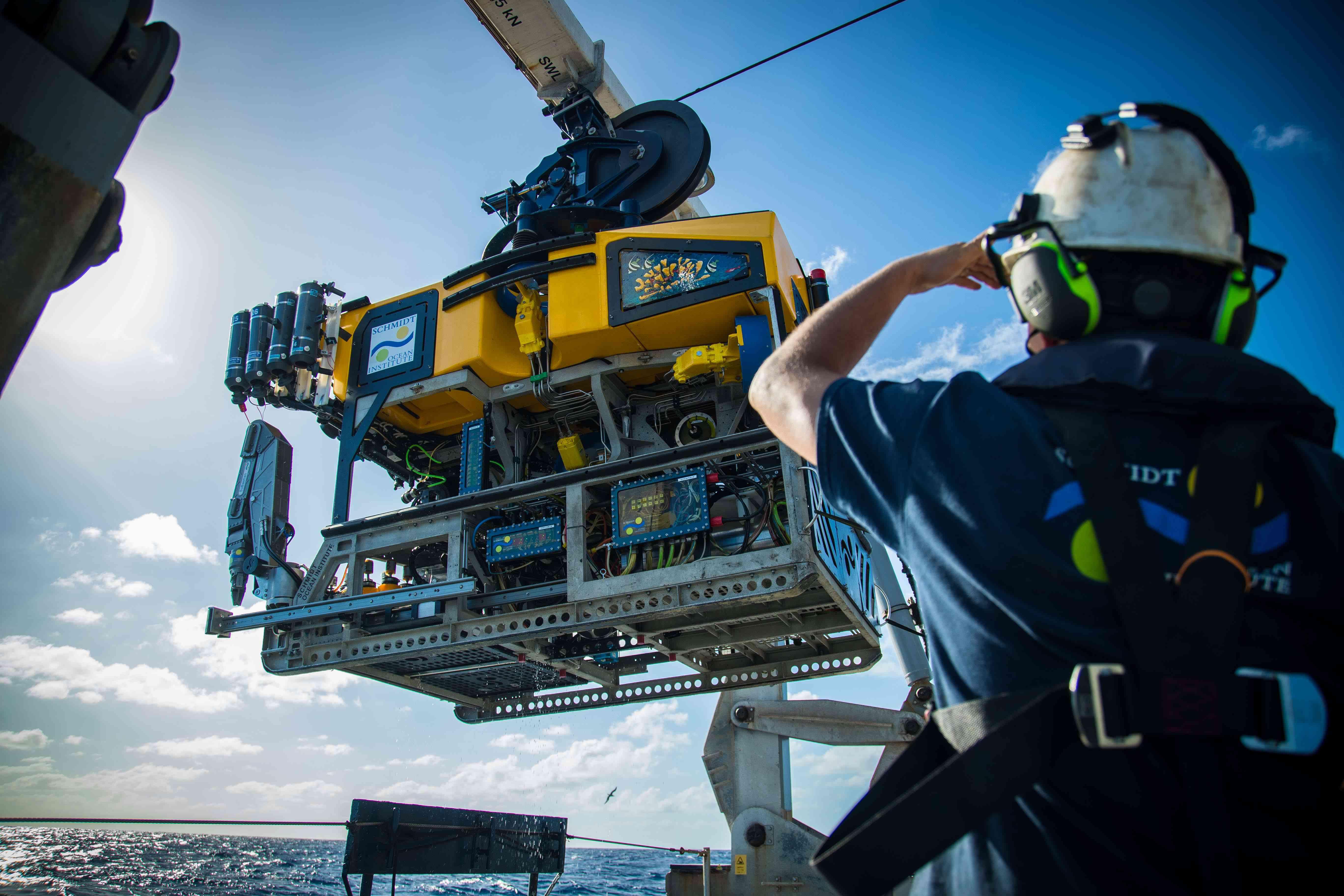 Underwater robot Subastian being deployed off of Falkor's back deck