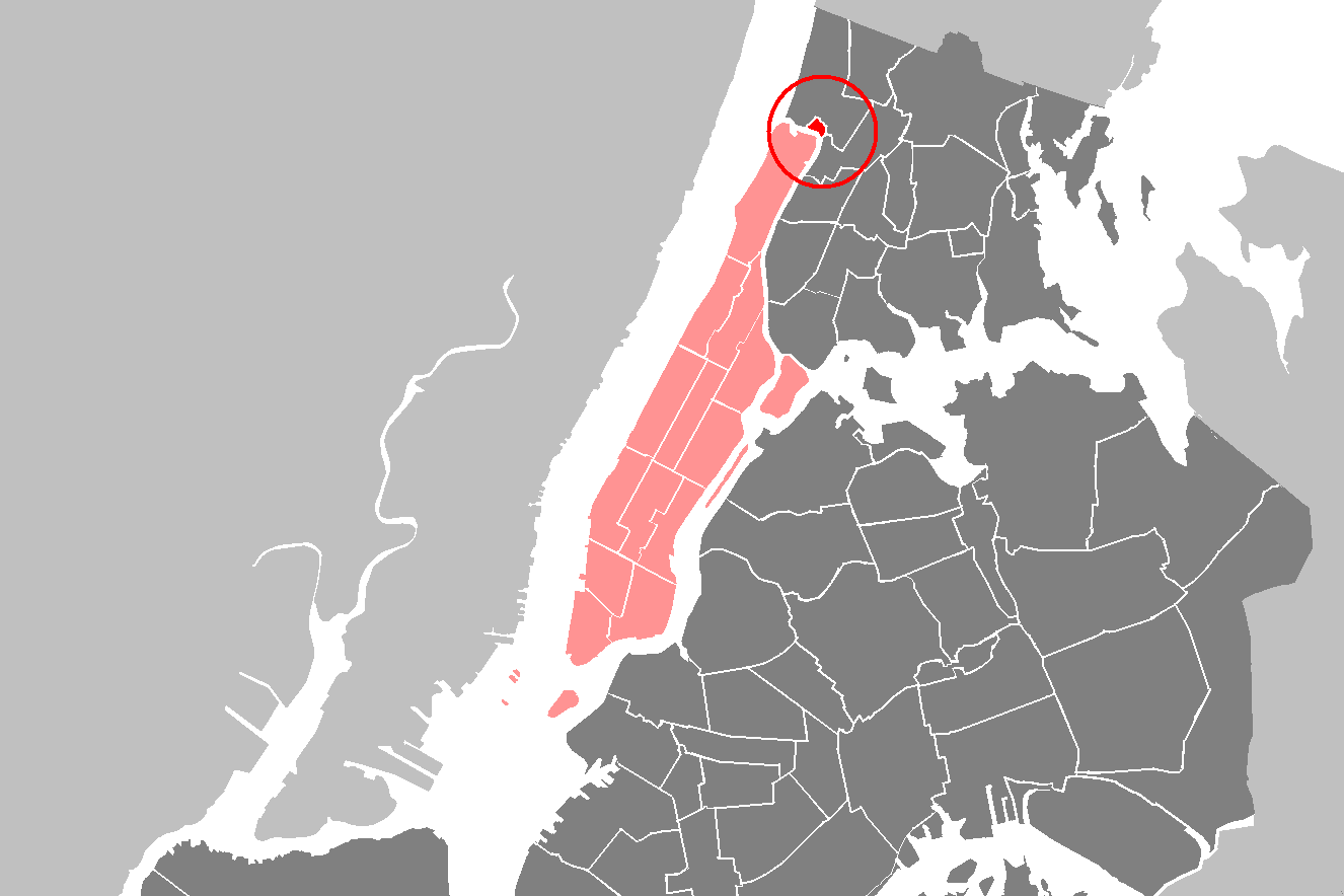 Map of Manhattan with Marble Hill neighborhood circled