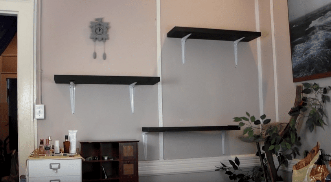 Shelves hanging on a wall