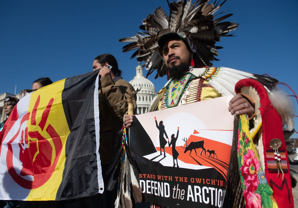 ANWR drilling press conference and protest