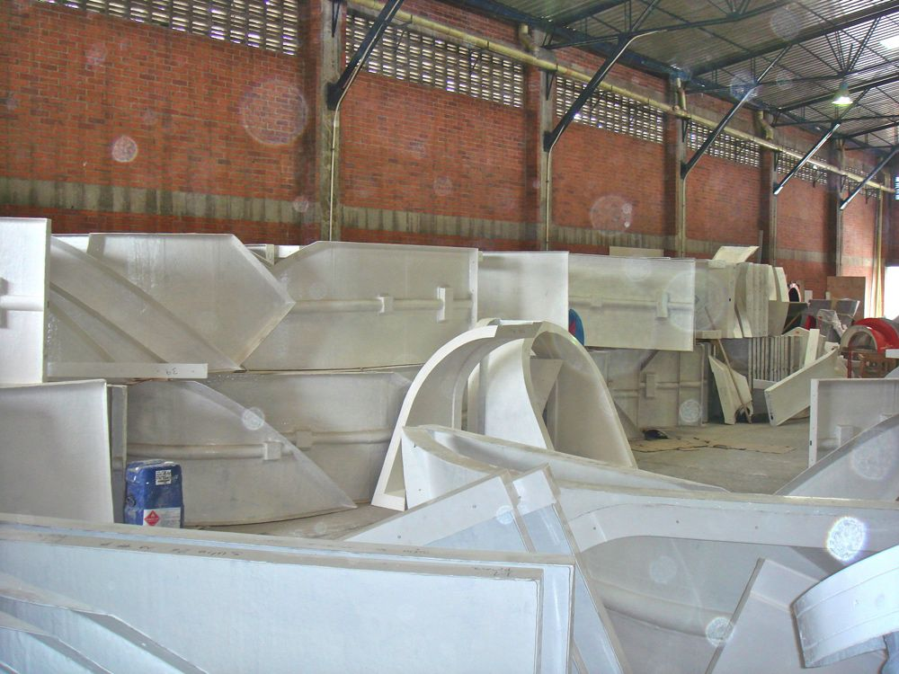 Parts being manufactured in a warehouse