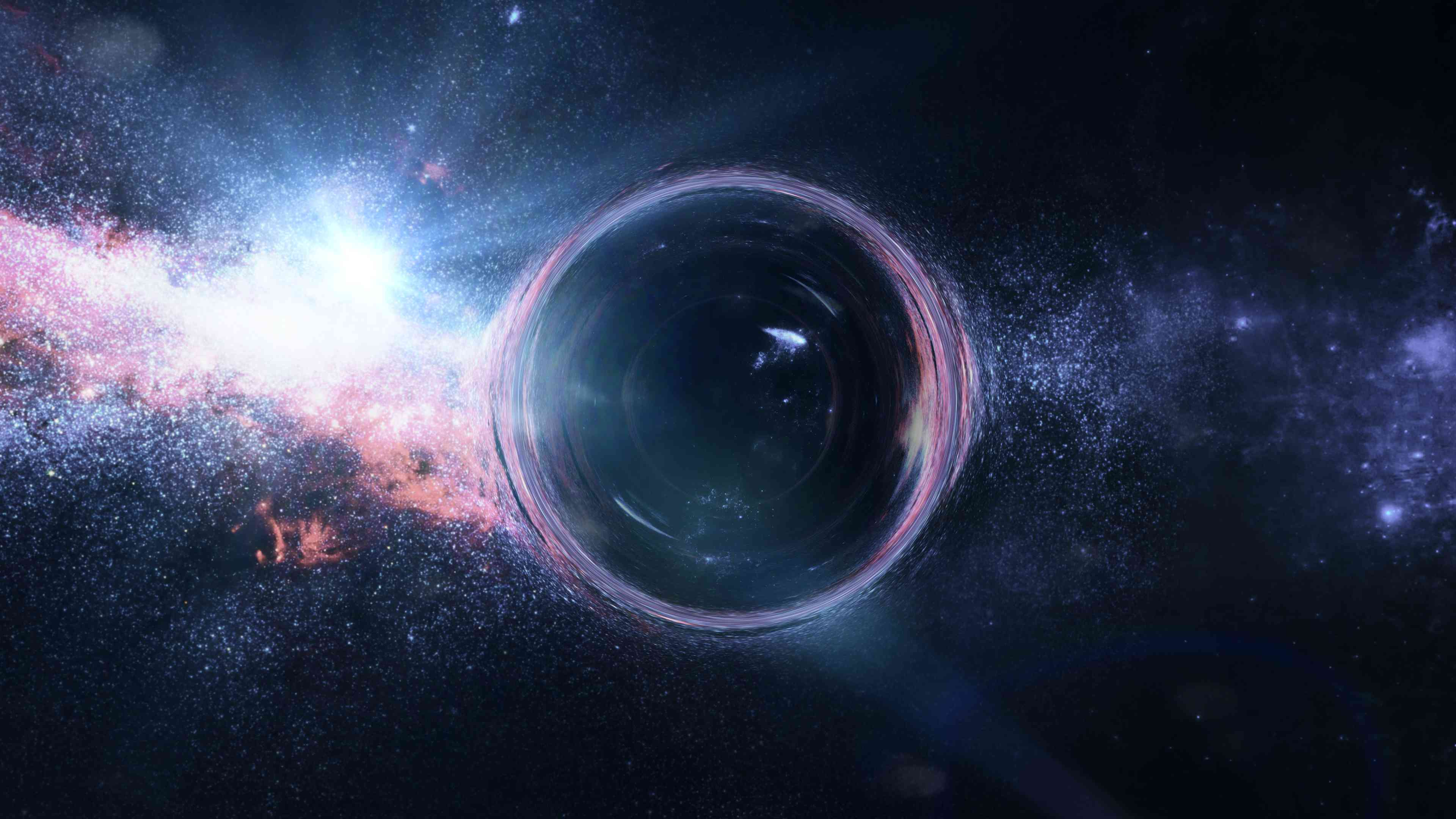 A rendering of a black hole.