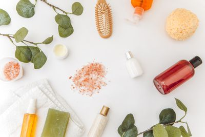 Photos Beauty cosmetic products and spa mockup, flatlay
