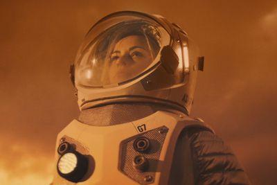 woman in Mars spacesuit