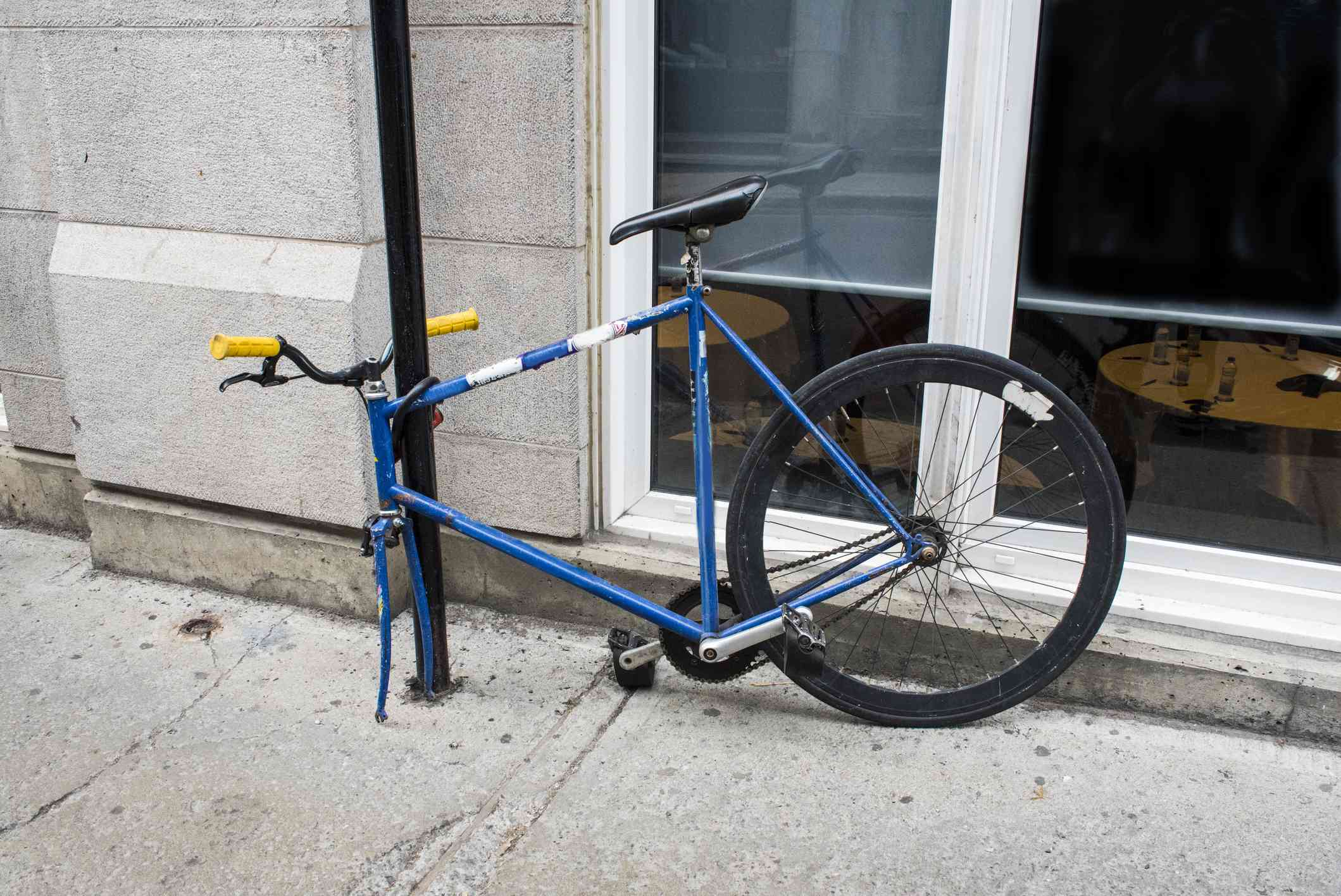 Bike with Missing Front Wheel