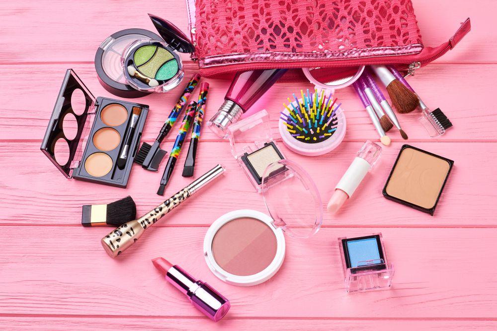 makeup and makeup bag