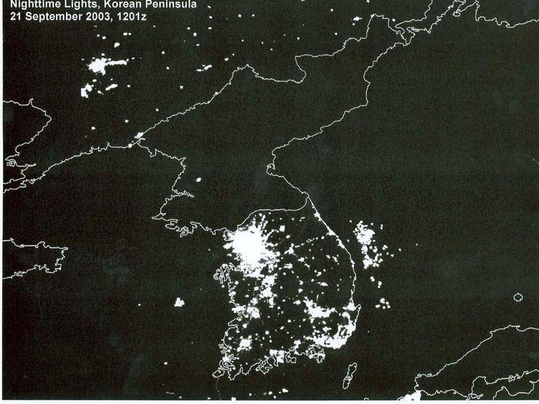 Satallite image of korean peninsula at night