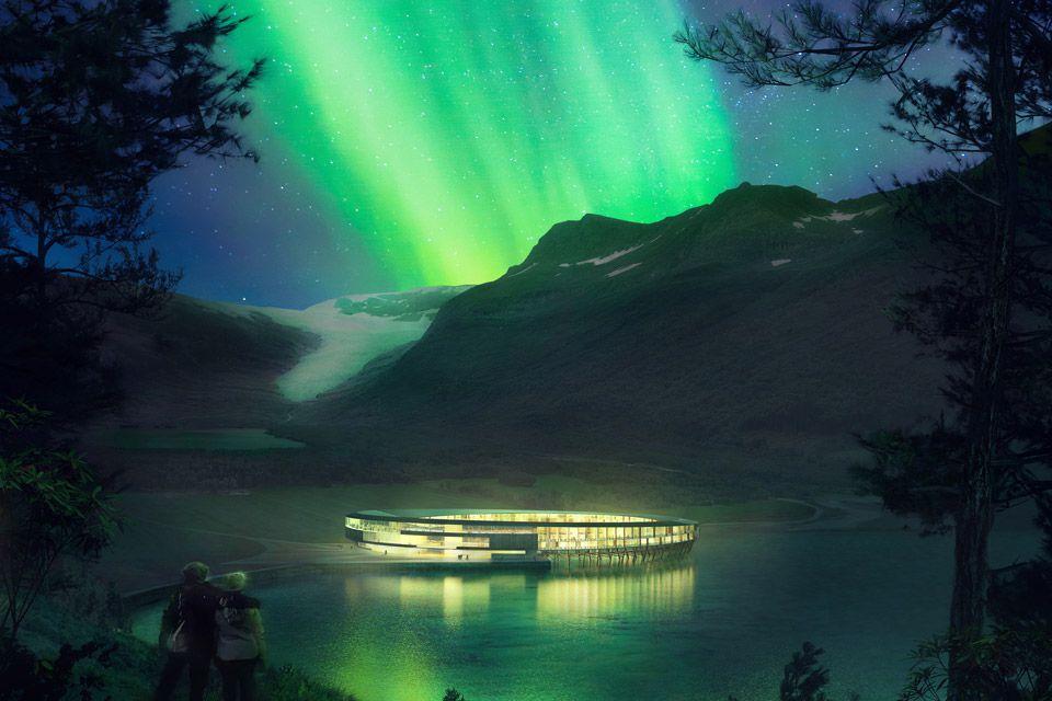 Aurora borealis as seen from Svart Hotel, Norway