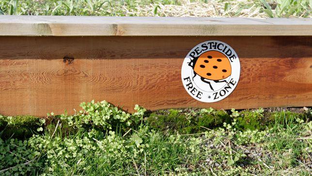 A garden with a 'Pesticide Free Zone' sticker