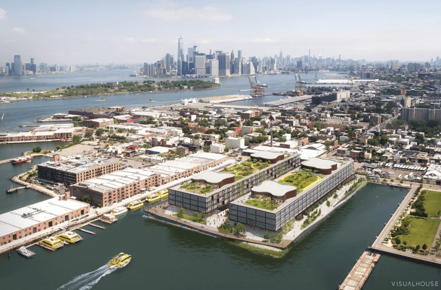 Overhead view of Red Hoek Point, a development in Red Hook, Brooklyn