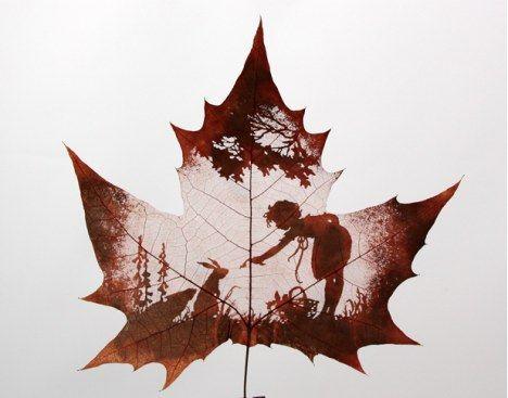 Leaf carving artwork