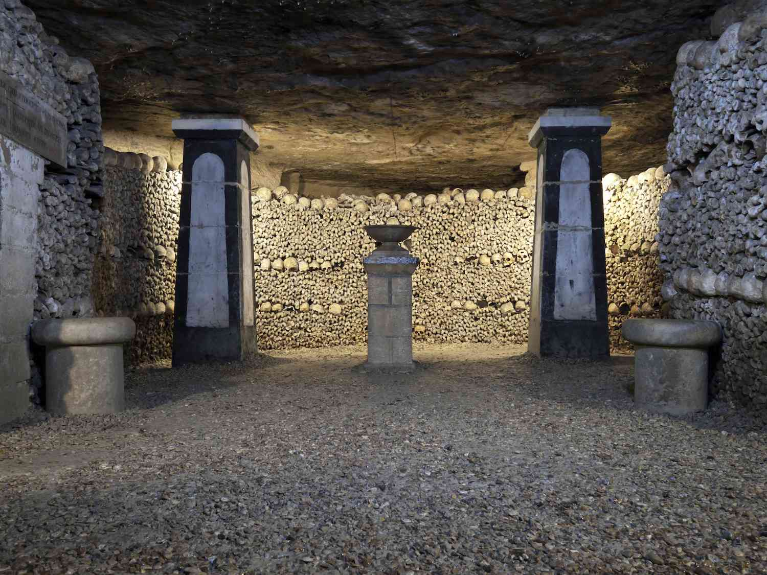 A room lined with bones in the Catacombs of Paris