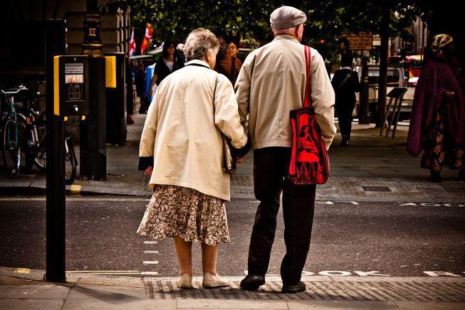 seniors waiting to cross street