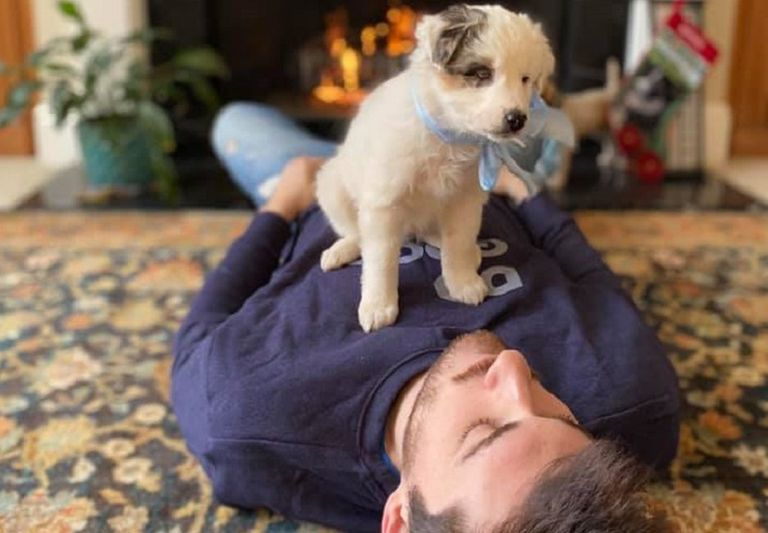 The author's son holds Treehugger foster puppy, Bernard.