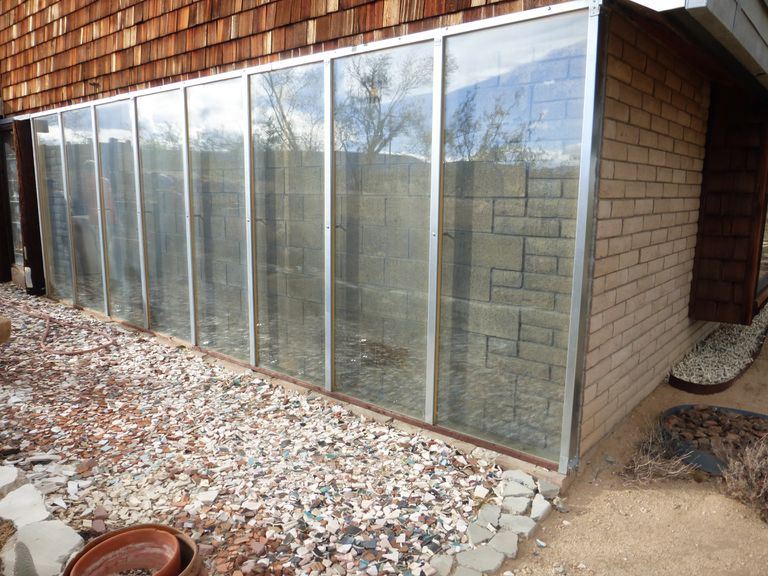 The exterior of a passive solar trombe wall.