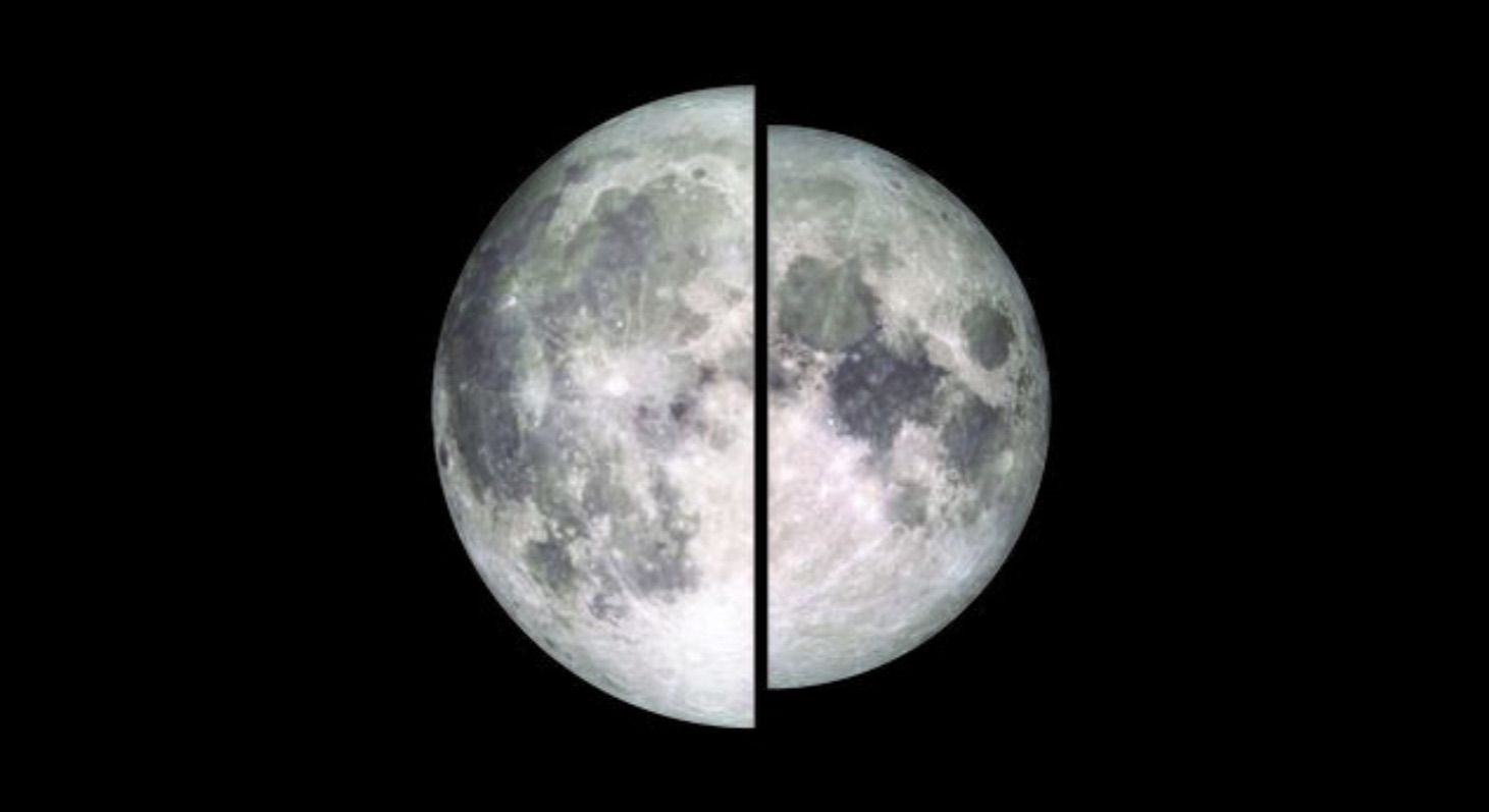 Split image comparing the size of a supermoon to a micromoon