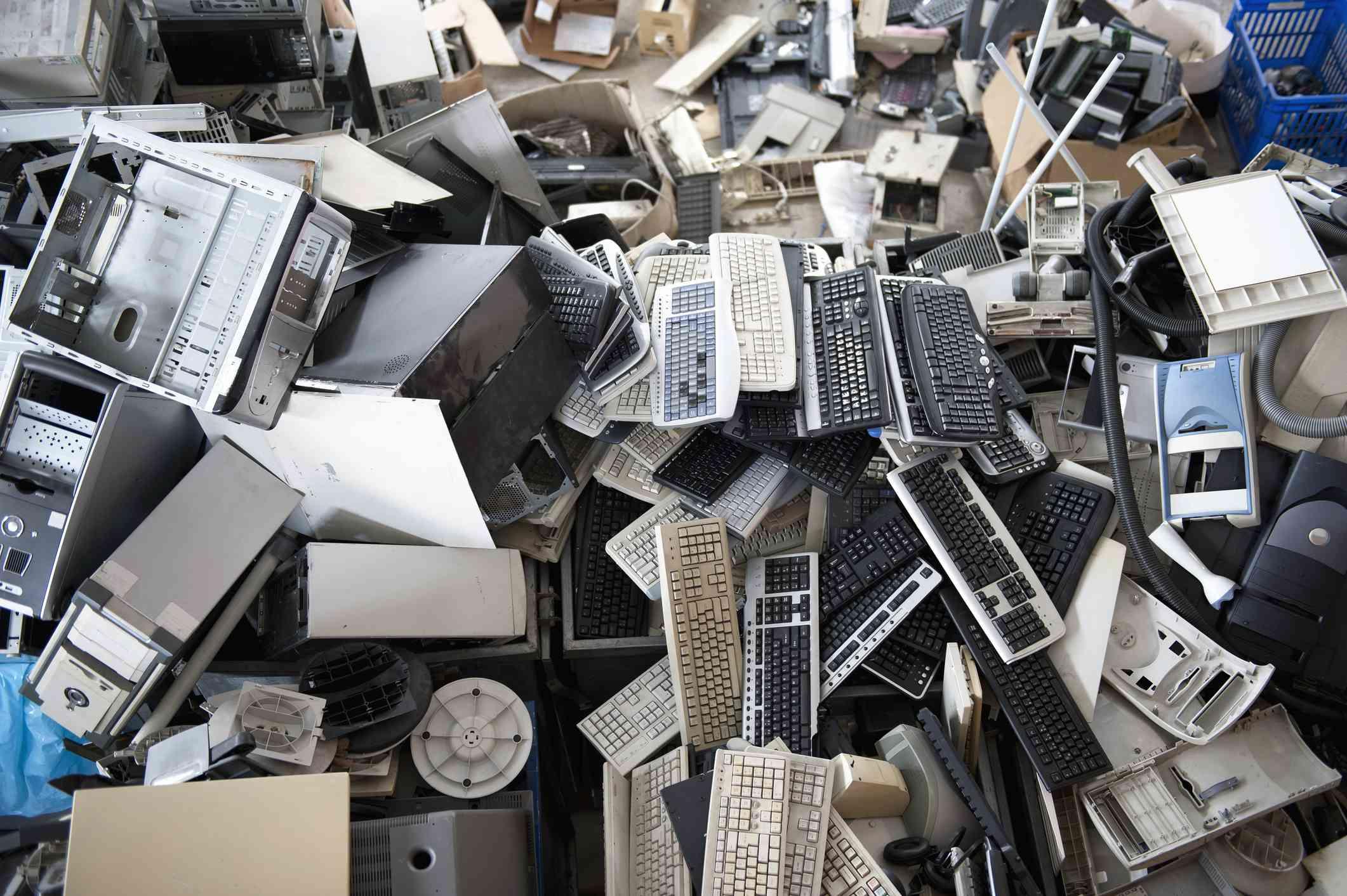 Electronics at a recycling facility.