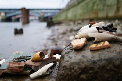 Objects found in the mud on the foreshore of the Thames River.