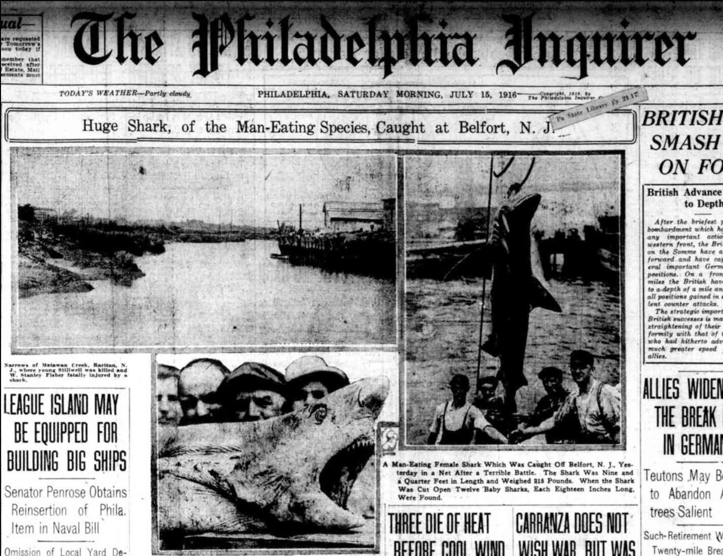 Philadelphia Inquirer front page from July 15, 1916
