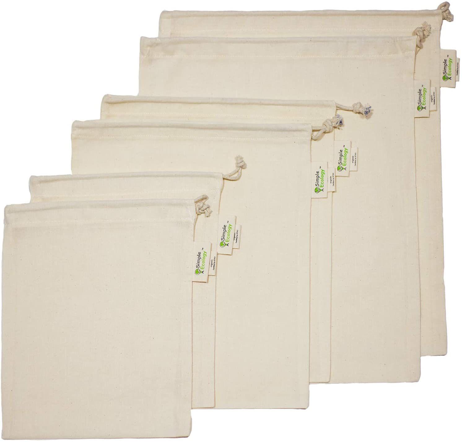 Simple Ecology Reusable Organic Cotton Muslin Produce Bags