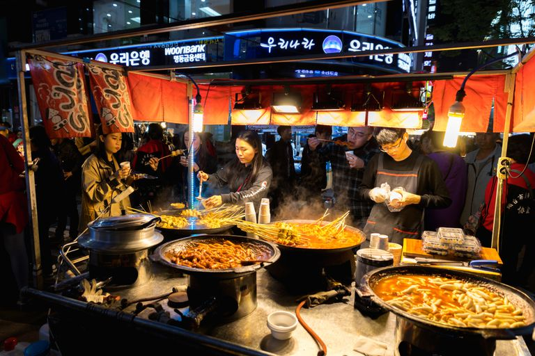 Foods at a street vendor in Asia