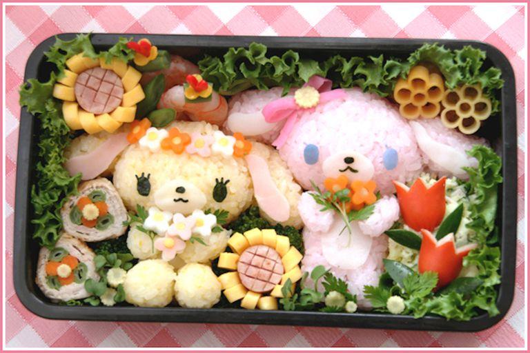 Bento Lunch Box with Baby Lambs
