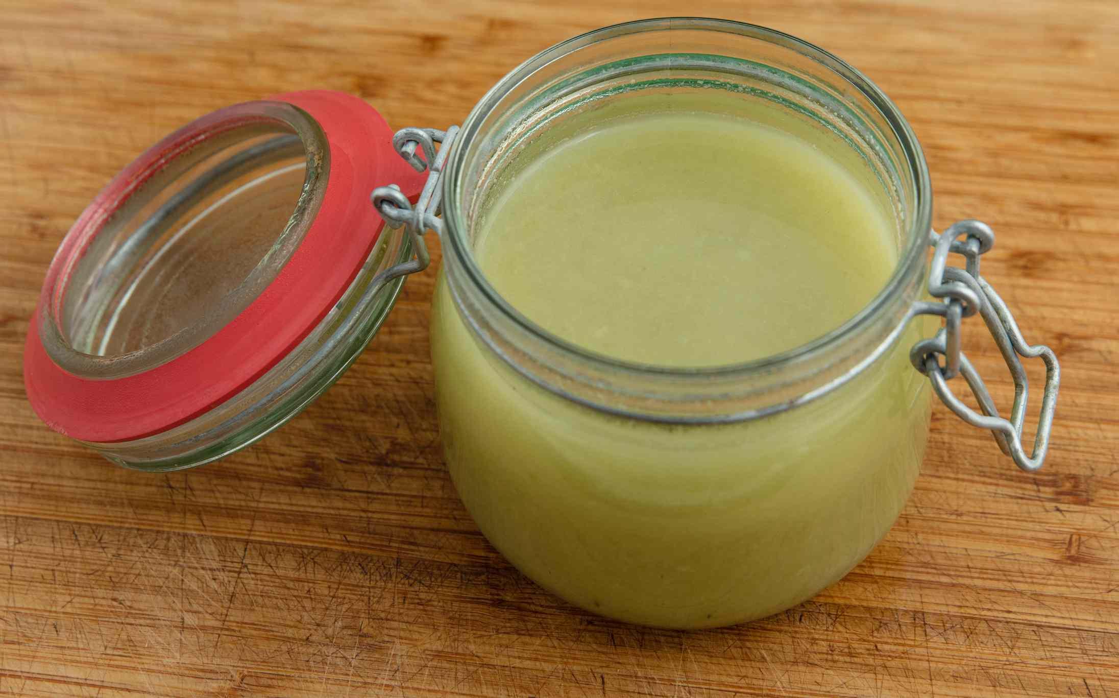 Leek soup in an open weck jar
