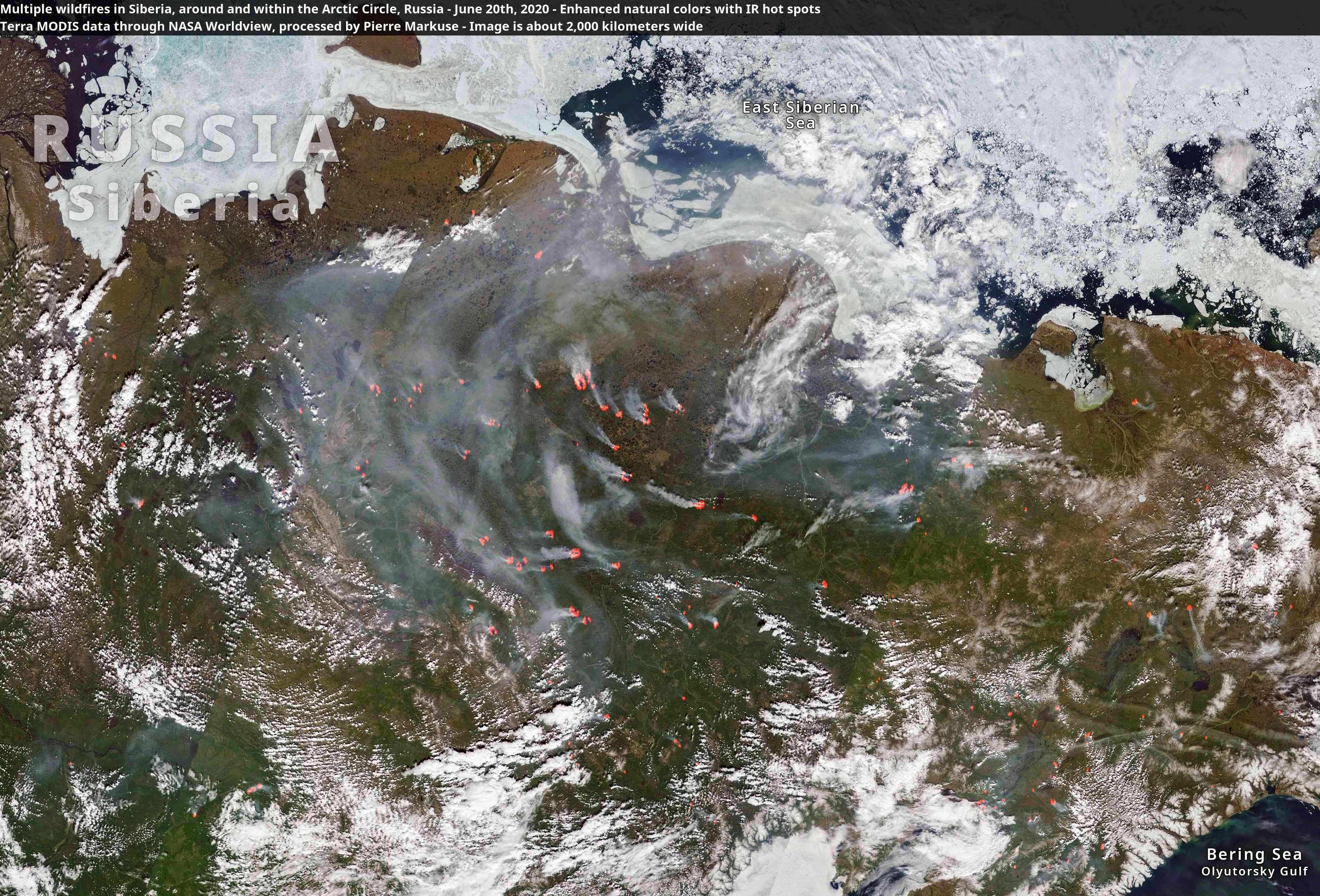 Multiple wildfires dot the Arctic Circle in Russia, June 2020