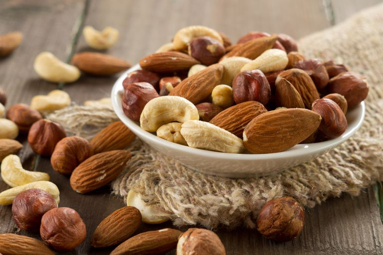 bowl of mixed nuts including almonds, cashews and hazlenuts