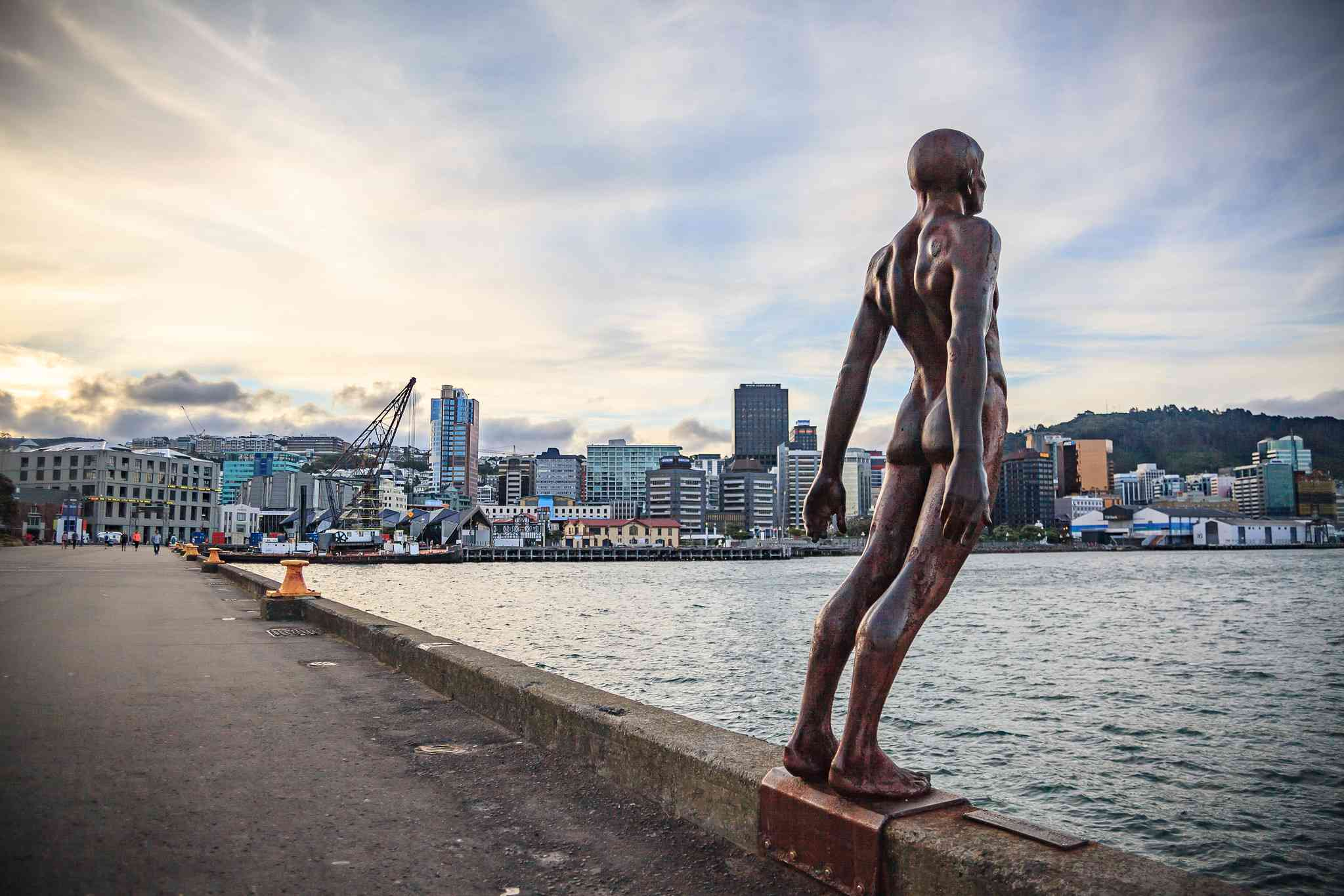 Solace in the Wind statue on Wellington waterfront