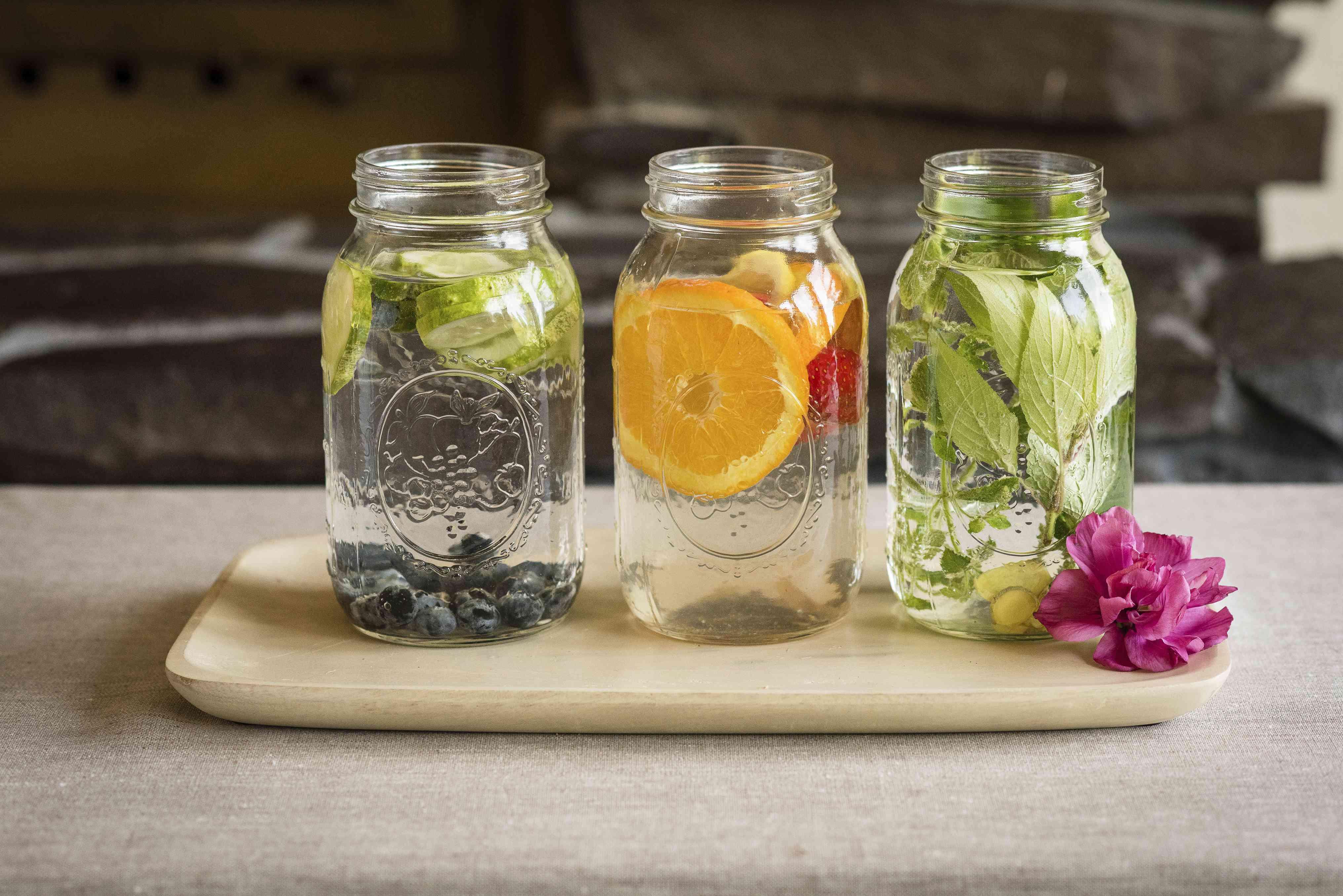 fruit herb water in mason jars