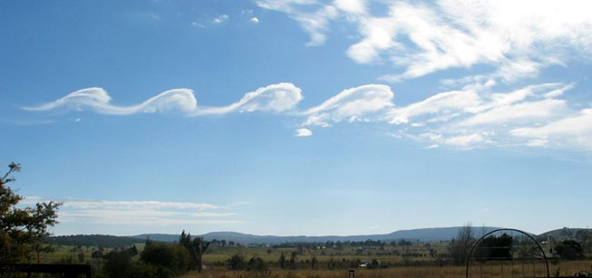Fluctus clouds appear on a sunny day