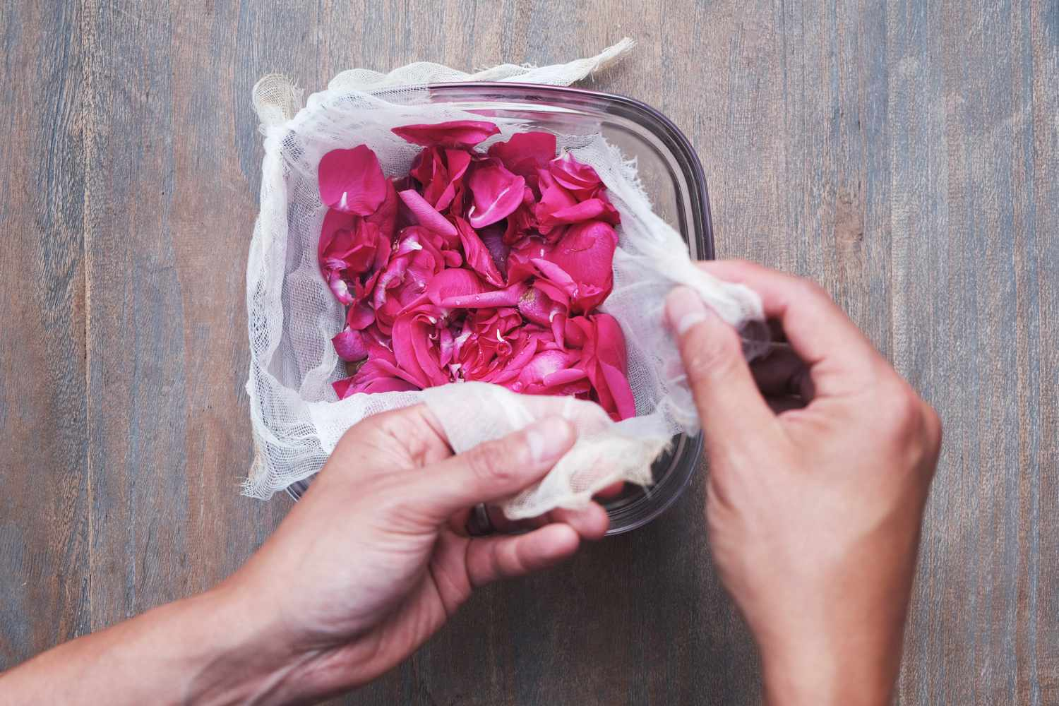 hands pick up cheesecloth lined around glass bowl filled with fresh pink rose petals
