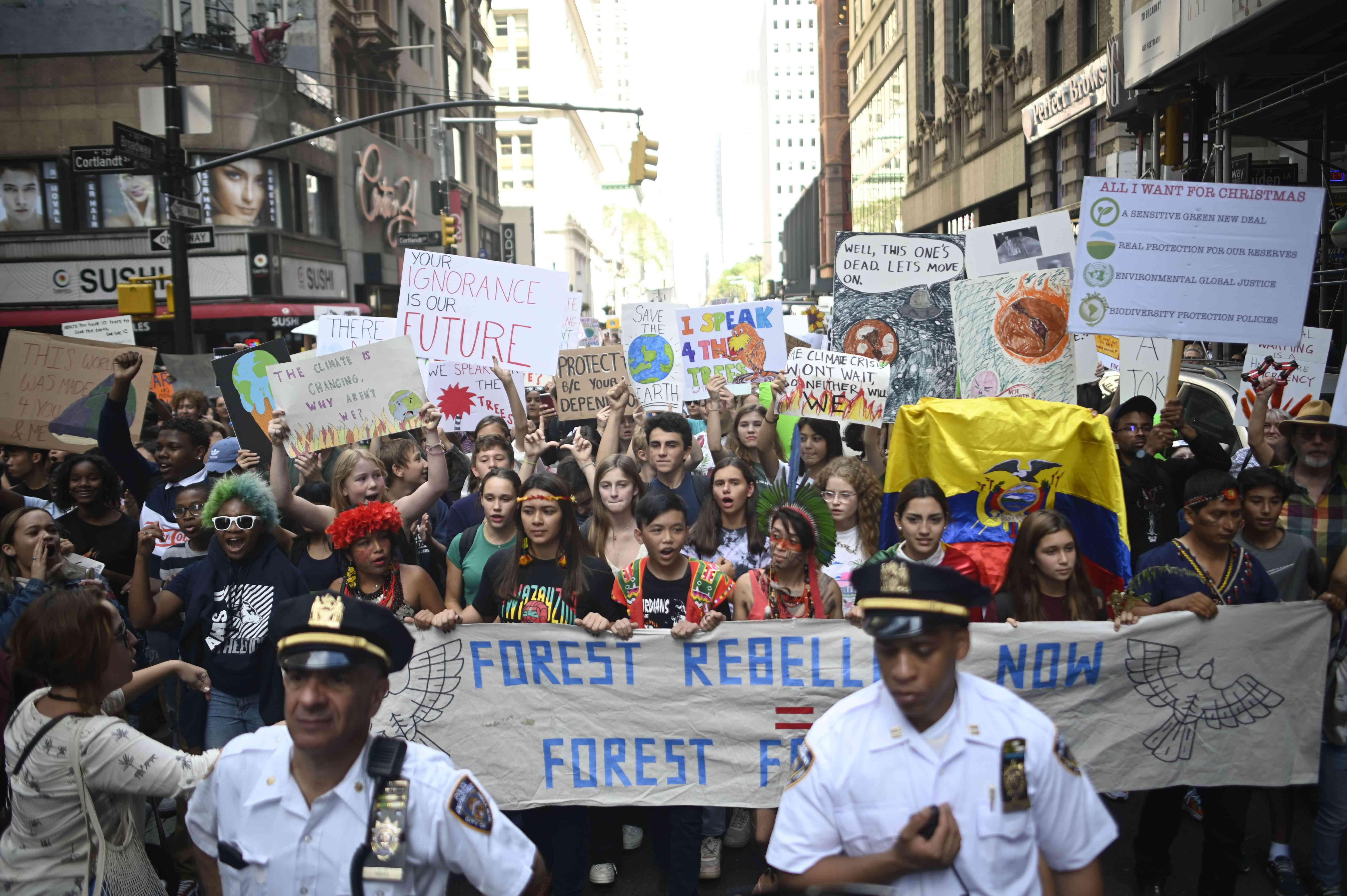 Global Climate Strike protestors in September 2019