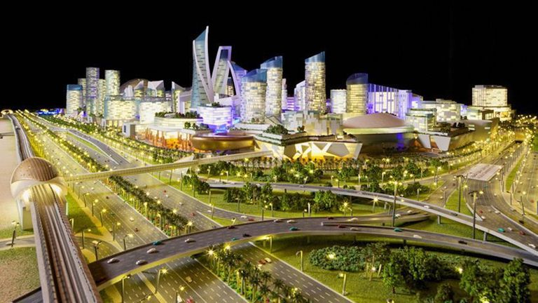 Rendering of plans for Mall of the World against a black sky