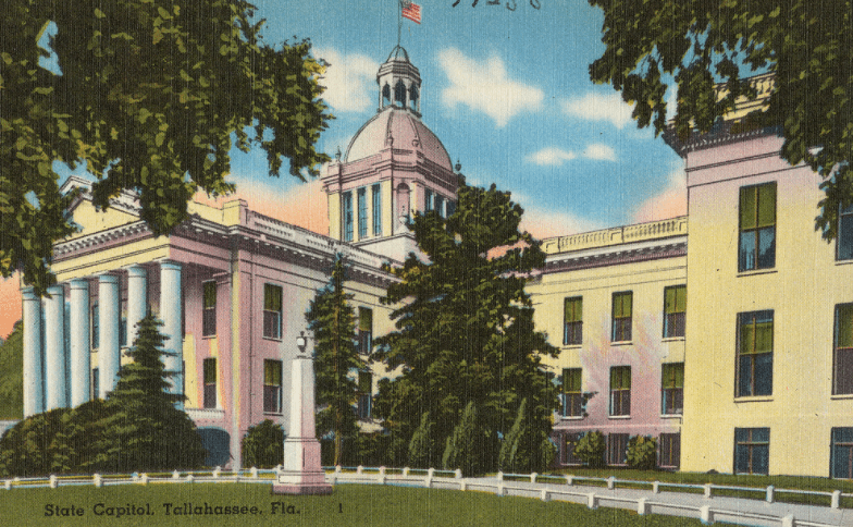 VIntage postcard, state capitol building in Tallahassee Florida