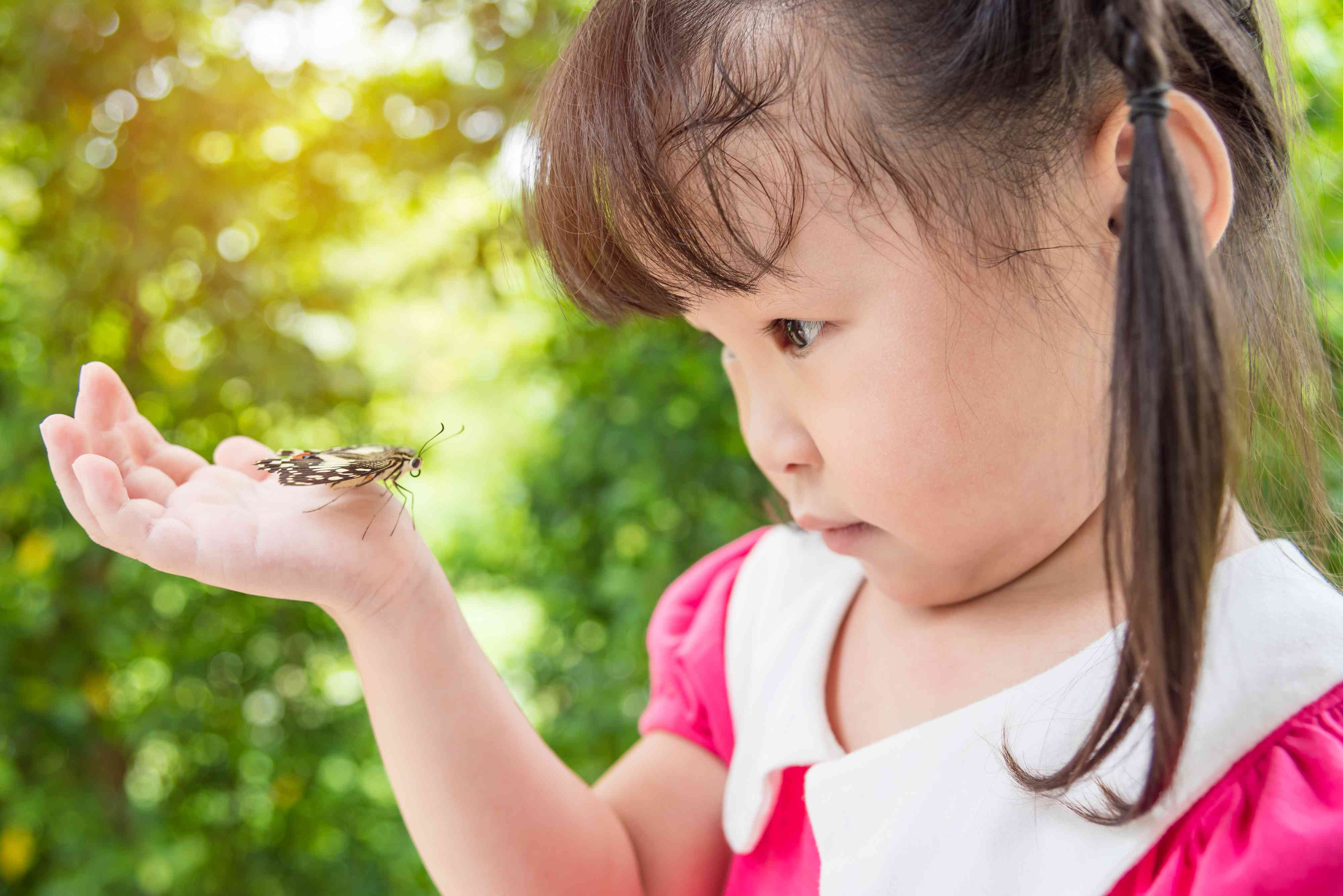 girl looking at butterfly on her hand in park