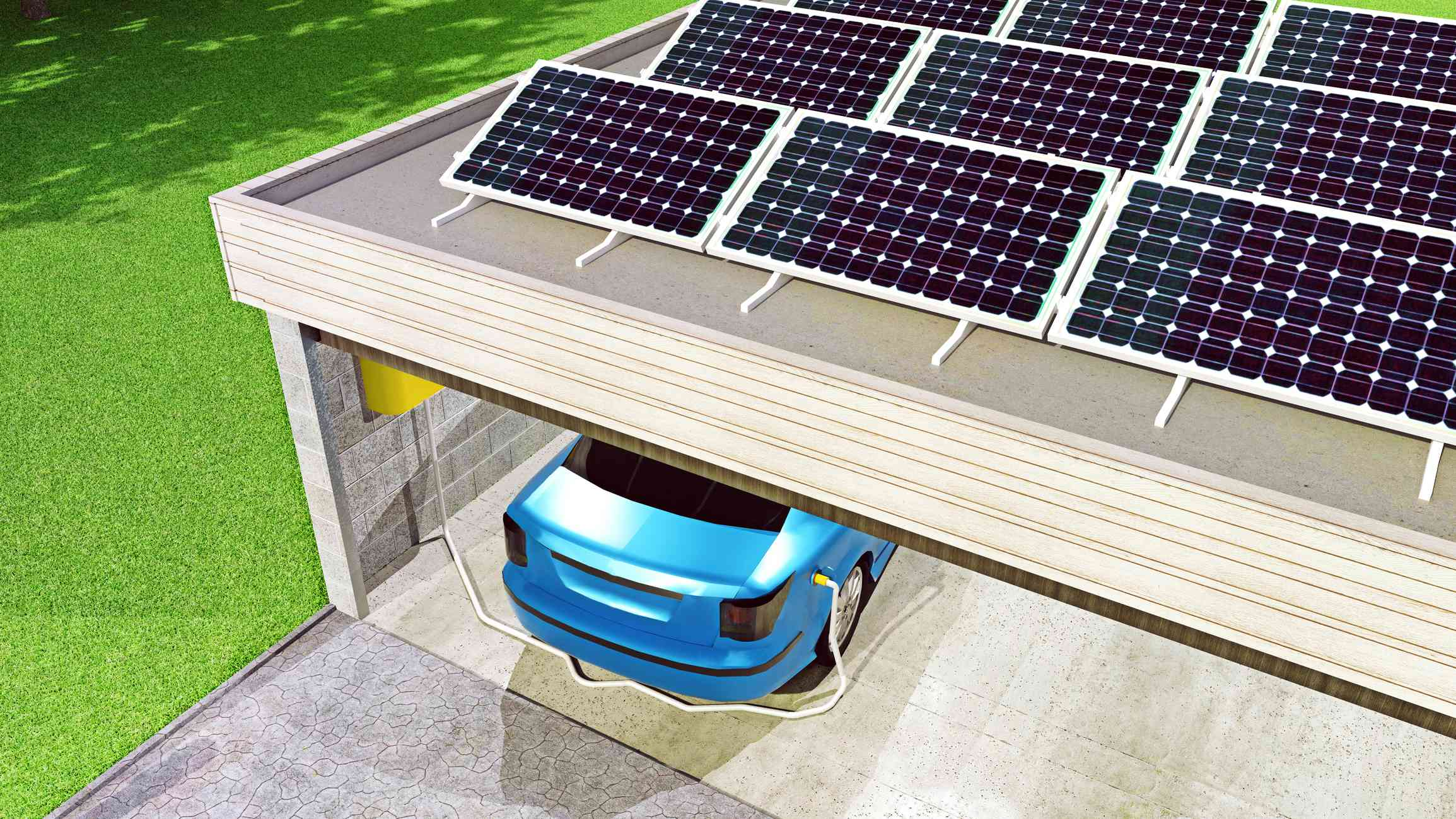 Rooftop solar system on garage with electric vehicle charging